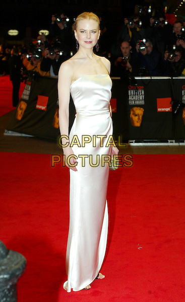 NICOLE KIDMAN.BAFTAS.white dress, strapless, full length, full-length.www.capitalpictures.com.sales@capitalpictures.com.© Capital Pictures