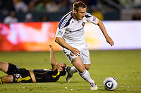 LA Galaxy midfielder Chris Birchall steals the ball. The LA Galaxy defeated the Columbus Crew 3-1 at Home Depot Center stadium in Carson, California on Saturday Sept 11, 2010.