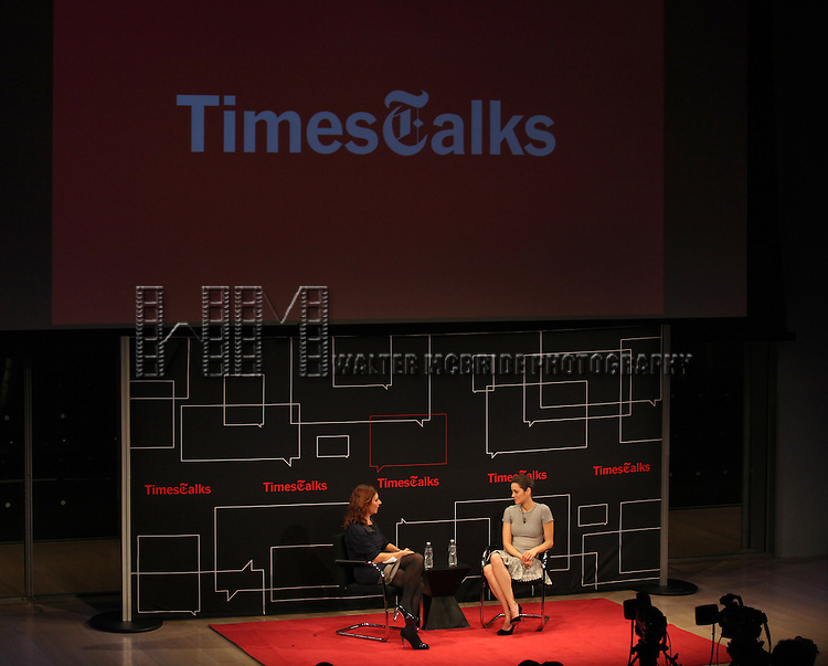 Moderator Melena Ryzik with Marion Cotillard on stage at TimesTalks at the Times Center in New York City. November 27, 2012.