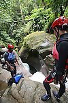 Canyoning (aka Canyoneering) down a waterfall on Dominica