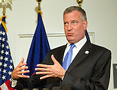 Mayor Bill de Blasio of New York City holds a press briefing following their meetings at the White House with senior officials on the terrorism threat and dealing with the Ebola crisis in Washington, D.C. on Tuesday, October 14, 2014. <br /> Credit: Ron Sachs / CNP<br /> (RESTRICTION: NO New York or New Jersey Newspapers or newspapers within a 75 mile radius of New York City)