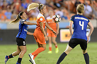 Houston, TX - Sunday August 13, 2017:  Lo'eau Labontam and Rachel Daly during a regular season National Women's Soccer League (NWSL) match between the Houston Dash and FC Kansas City at BBVA Compass Stadium.