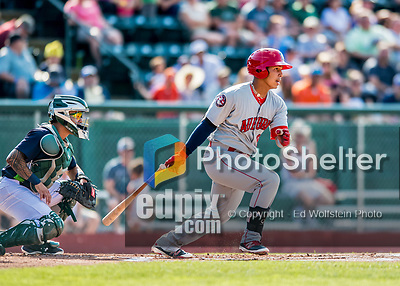 16 July 2017: Auburn Doubledays outfielder Oliver Ortiz in action against the Vermont Lake Monsters at Centennial Field in Burlington, Vermont. The Monsters defeated the Doubledays 6-3 in NY Penn League action. Mandatory Credit: Ed Wolfstein Photo *** RAW (NEF) Image File Available ***