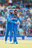 Virat Kolli (India) celebrates with Ravindra Jadeja (India) the wicket of Ross Taylor during India vs New Zealand, ICC World Cup Warm-Up Match Cricket at the Kia Oval on 25th May 2019