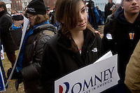 Mitt Romney supporters gather outside a Mitt Romney town hall meeting and rally at the Rochester Opera House in Rochester, New Hampshire, on Jan. 8, 2012. Romney is seeking the 2012 Republican presidential nomination.