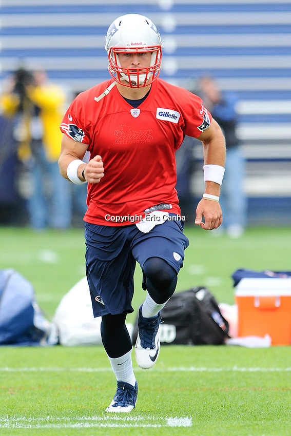 New England Patriots quarterback Tim Tebow (5) during the New England Patriots mini camp at Gillette Stadium in Foxborough Massachusetts.   Eric Canha/CSM