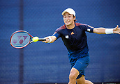 June 13th 2017, Nottingham, England; ATP Aegon Nottingham Open Tennis Tournament day 2;  Forehand from Go Soeda of Japan who lost in two sets to Lloyd Glasspool of Great Britain