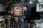 Louis Byrne owner of the Spar shop in Monavalley, Tralee assessing the damage caused by a fire on Thursday night.