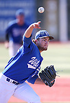 Wildcats' Max Karnos pitches against College of Southern Idaho at Western Nevada College in Carson City, Nev., on Thursday, Feb. 26, 2015. <br /> Photo by Cathleen Allison/Nevada Photo Source