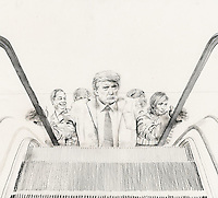 Satirical cartoon of President Donald Trump ascending escalator in front of Nigel Farage, Boris Johnson, Marine Le Pen and Geert Wilders