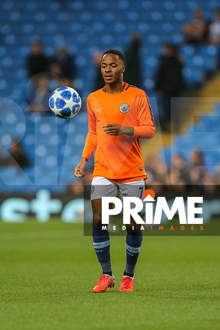 Raheem STIRLING of Manchester City warms up during the UEFA Champions League match between Manchester City and Olympique Lyonnais at the Etihad Stadium, Manchester, England on 19 September 2018. Photo by David Horn / PRiME Media Images.