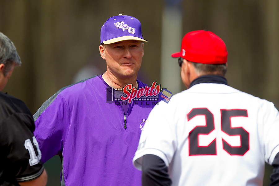 Western Carolina Catamounts head coach Bobby Moranda (25) prior to the start of the game against the Davidson Wildcats at Wilson Field on March 10, 2013 in Davidson, North Carolina.  The Catamounts defeated the Wildcats 5-2.  (Brian Westerholt/Sports On Film)