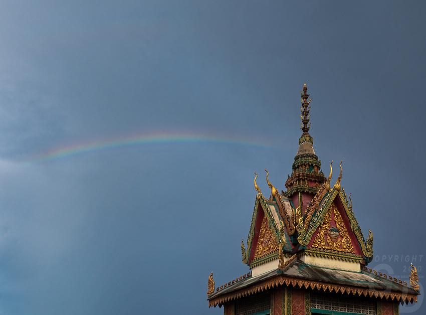 A rain storm and Rainbow over the Monastery, Cambodia