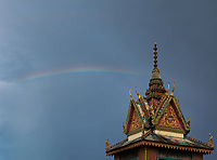A rain storm and Rainbow over the Monastery, Cambodia