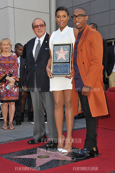 Jennifer Hudson with music mogul Clive Davis (left) &amp; musician Raphael Saadiq on Hollywood Boulevard where she was honored with the 2,512th star on the Hollywood Walk of Fame.<br /> November 13, 2013  Los Angeles, CA<br /> Picture: Paul Smith / Featureflash