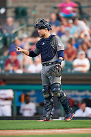 Lehigh Valley IronPigs catcher Logan Moore (35) during a game against the Rochester Red Wings on June 30, 2018 at Frontier Field in Rochester, New York.  Lehigh Valley defeated Rochester 6-2.  (Mike Janes/Four Seam Images)