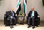Palestinian Prime Minister Rami Hamdallah meets with Iraqi forign affairs minister Mohammed al-Hakim on the sidelines of the the fourth Arab Economic and Social Development Summit in Beirut, Lebanon, 20 January 2019. The fourth Arab Economic and Social Development Summit on Sunday kicked off in Lebanon's capital Beirut. Photo by Prime Minister Office