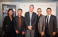 Panel discussion on the 3rd LA project at the Line Hotel in Los Angeles, Calif. on Wednesday, Feb. 18, 2015 hosted by Christopher Hawthorne. <br /> <br /> From left to right, panelists Kilema Moses, Jan Lin, Christopher Hawthorne, , Manuel Pastor, Christopher Pak..<br /> <br /> (Photos by Susanica Tam/For Occidental College)