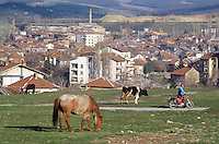 Bulgaria. Province Oblast Lovech. Lukowit. View on the town. A man walks on a concrete sidewalk and pushes his red motorbike. Horses and cows graze the grassland. © 1997 Didier Ruef