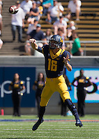 Saturday, September 7, 2013: Jared Goff throws the ball during a game against Portland State at Memorial Stadium, Berkeley, California - California defeated Portland State 37 - 30