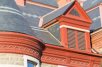 Architectural detail of the roof of the Pulaski County Courthouse in Little Rock, Arkansas.