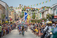 Robert Gesink (NED/LottoNL-Jumbo) leading the peloton through town <br /> <br /> Stage 1: Noirmoutier-en-l'&Icirc;le &gt; Fontenay-le-Comte (189km)<br /> <br /> Le Grand D&eacute;part 2018<br /> 105th Tour de France 2018<br /> &copy;kramon