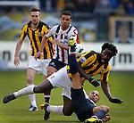 Nederland, Arnhem, 28 april 2013.Eredivisie.Seizoen 2012-2013.Vitesse-Willem II (3-1).Philipp Haastrup van Willem ll en Wilfried Bony van Vitesse strijden om de bal