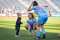 Bridgeview, IL - Saturday May 06, 2017: Sofia Huerta, Danielle Colaprico after a regular season National Women's Soccer League (NWSL) match between the Chicago Red Stars and the Houston Dash at Toyota Park.