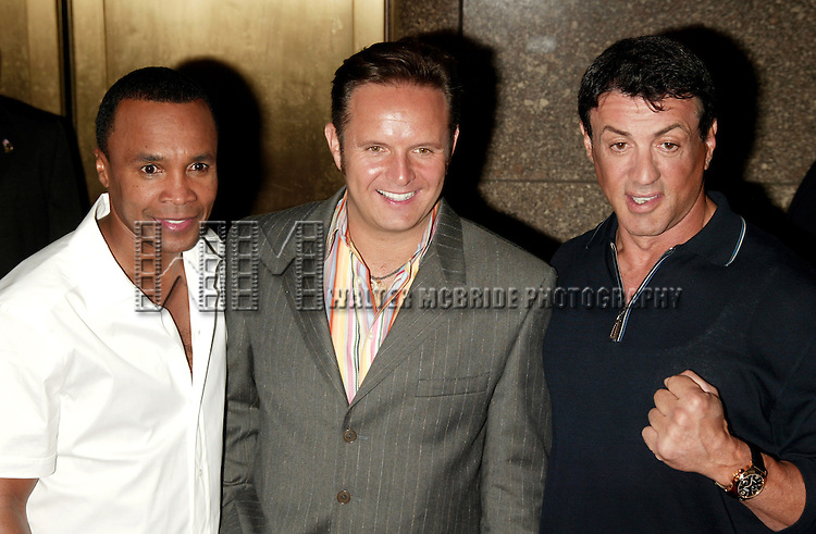 Sugar Ray Leonard, Mark Burnett and Sylvester Stallone<br /> ( THE CONTENDER )<br /> Attending the NBC Network 2004-2005 Upfront announcements at Radio City Music Hall in New York City.<br /> May 17, 2004<br /> &copy; Walter McBride / Retna Ltd.