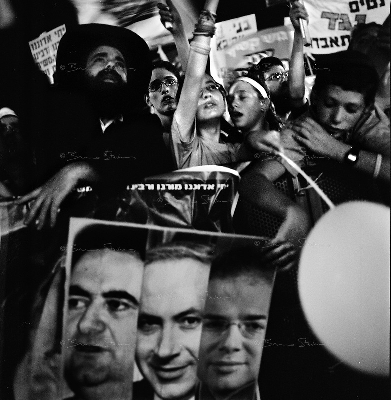 Tel Aviv; Israel, August 11, 2005.The last large scale demonstration organized by the settler movements on Rabin square before the beginning of the Gaza disengagment to protest against Ariel Sharon's decision to dismantle the Gaza settlements.
