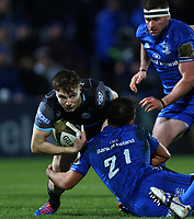 28th February 2020; RDS Arena, Dublin, Leinster, Ireland; Guinness Pro 14 Rugby, Leinster versus Glasgow; Jamie Dobie (Glasgow Warriors) is tackled by Jamison Gibson-Park (Leinster)