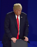 Businessman Donald J. Trump, the Republican Party candidate for President of the US, appears in the second of three presidential general election debates with former United States Secretary of State Hillary Clinton, the Democratic Party nominee for President of the US at Washington University in St. Louis, Missouri on Sunday, October 9, 2016.<br />
