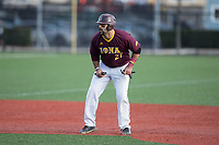 Lou Matarazzo (27) of the Iona Gaels takes his lead off of second base against the Rutgers Scarlet Knights at City Park on March 8, 2017 in New Rochelle, New York.  The Scarlet Knights defeated the Gaels 12-3.  (Brian Westerholt/Four Seam Images)