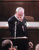 In this file photo dated May 31,1989, the Speaker of the United States House of Representatives Jim Wright (Democrat of Texas) wipes a tear as he addresses the chamber to announce his resignation from his position in the midst of an ethics investigation in the U.S. Capitol in Washington, D.C. Wright passed away at age 92 on May 6, 2015.<br /> Credit: Ron Sachs / CNP