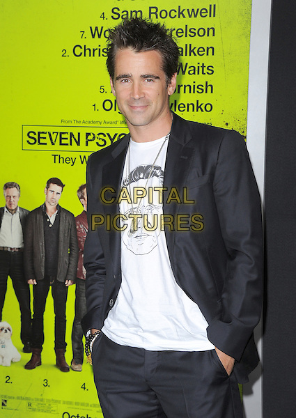 Colin Farrell.The L.A. Premiere of 'Seven Psychopaths' Premiere held at The Bruin Theatre in Westwood, California, USA..October 1st, 2012 .half length black suit jacket white top Christopher Walken face print hands in pockets .CAP/RKE/DVS.©DVS/RockinExposures/Capital Pictures.