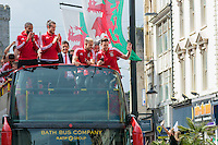CARDIFF, UK. 8th July 2016. The Welsh football team are welcomed home with a public celebration event after reaching the semi-final of the Euro 2016 championship. After landing at Cardiff airport, an open-top bus parade took them through the city centre.<br /> <br /> L-R: Ashley Williams, Gareth Bale, Chris Coleman, Aaron Ramsey, Wayne Hennessey