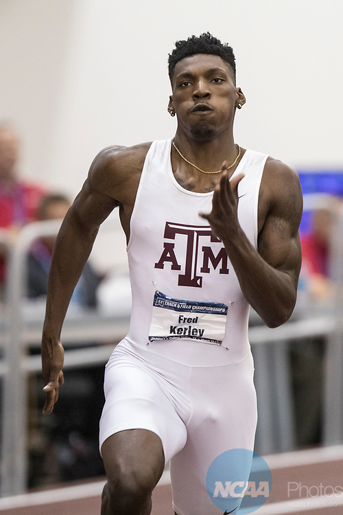 COLLEGE STATION, TX - MARCH 11: Fred Kerley of Texas A&M competes in the 400 meter dash during the Division I Men's and Women's Indoor Track & Field Championship held at the Gilliam Indoor Track Stadium on the Texas A&M University campus on March 11, 2017 in College Station, Texas. (Photo by Michael Starghill/NCAA Photos/NCAA Photos via Getty Images)