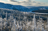 Yukon River winds through the interior landscape in winter, Alaska