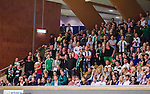 Stockholm 2014-09-26 Handboll Elitserien Hammarby IF - Ricoh HK :  <br /> Hammarbys supportrar p&aring; l&auml;ktaren under matchen mot Ricoh<br /> (Foto: Kenta J&ouml;nsson) Nyckelord:  Eriksdalshallen Hammarby HIF HeIF Bajen Ricoh HK RHK supporter fans publik supporters