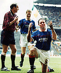5TH APRIL 1998, CELTIC V RANGERS SCOTTISH CUP SEMI FINAL, ALLY MCCOIST CELEBRATES SCORING FOR RANGERS AT CELTIC PARK, ROB CASEY PHOTOGRAPHY.