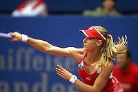 October 26, 2005; Linz, Austria; Tennis star ELENA DEMENTIEVA of Russia swing through a serve during her loss to KVETA PESCHKE of Czech Republic, 6-3, 7-5 at the Generali Ladies Linz Open, WTA tennis tournament. The singles final is set for Sunday, October 30, 2005. .Mandatory Credit: Tom Theobald/ ZUMA Press..(©) Copyright 2005 Tom Theobald
