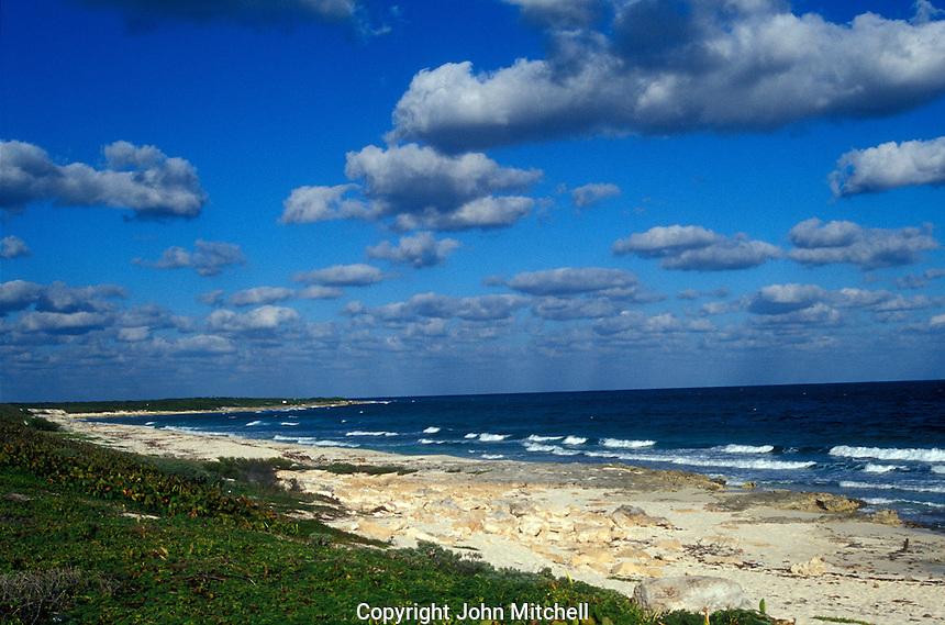 Deserted beach on the east coast of Isla de Cozumel, Quintana Roo, Mexico