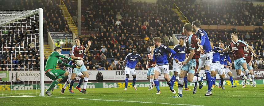 Burnley's Ashley Barnes sees his late shot saved by Cardiff City's David Marshall<br /> <br /> Photographer Dave Howarth/CameraSport<br /> <br /> Football - The Football League Sky Bet Championship - Burnley v Cardiff City  - Tuesday 5th April 2016 - Turf Moor - Burnley <br /> <br /> &copy; CameraSport - 43 Linden Ave. Countesthorpe. Leicester. England. LE8 5PG - Tel: +44 (0) 116 277 4147 - admin@camerasport.com - www.camerasport.com