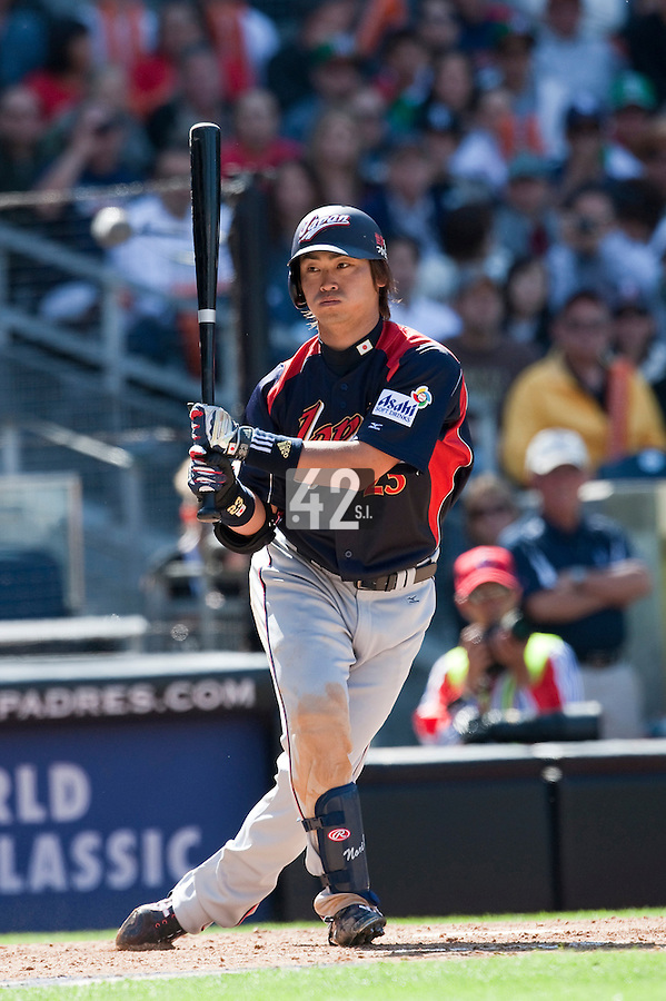 15 March 2009: #23 Norichika Aoki of Japan swings and misses during the 2009 World Baseball Classic Pool 1 game 1 at Petco Park in San Diego, California, USA. Japan wins 6-0 over Cuba.