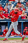 26 February 2019: St. Louis Cardinals outfielder Randy Arozarena is hit by a pitch in the 3rd inning of a Spring Training game against the Washington Nationals at the Ballpark of the Palm Beaches in West Palm Beach, Florida. The Cardinals defeated the Nationals 6-1 in Grapefruit League play. Mandatory Credit: Ed Wolfstein Photo *** RAW (NEF) Image File Available ***