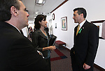 Nevada Governor Brian Sandoval, right, talks with advisers Dale Erquiaga and Heidi Gansert outside an education budget hearing Tuesday, May 3, 2011, at the Legislature in Carson City, Nev. Sandoval will deliver a televised address Tuesday evening about his budget proposal and his stance to not raise taxes. .Photo by Cathleen Allison