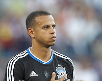 San Jose Earthquakes defender Jason Hernandez (21). In a Major League Soccer (MLS) match, the New England Revolution (white) defeated San Jose Earthquakes (black), 2-0, at Gillette Stadium on July 6, 2013.