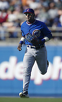 Sammy Sosa of the Chicago Cubs during a 2002 MLB season game against the Los Angeles Dodgers at Dodger Stadium, in Los Angeles, California. (Larry Goren/Four Seam Images)