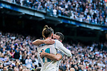 Gareth Bale of Real Madrid celebrates with teammate Daniel Carvajal Ramos during the La Liga 2017-18 match between Real Madrid and RC Deportivo La Coruna at Santiago Bernabeu Stadium on January 21 2018 in Madrid, Spain. Photo by Diego Gonzalez / Power Sport Images