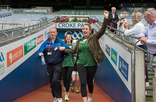 Aug 12, 2014; Students and Special Olympic athletes join in activities on the field at Croke Park in Dublin. 82 Notre Dame students participated in the Summer 2014 Ireland Inside Track program.  The 8-day program involved cultural excursions, tours and travel between Dublin and the West of Ireland. Students learned about Ireland's rich culture, complex history and contemporary business such and Google and Twitter.  (Photo by Barbara Johnston/University of Notre Dame)